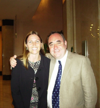 Professor Aileen Lothian and the Rt. Honourable Alex Salmond, First Minister for Scotland, attending the Scottish Gala evening event at the Marriott Hotel, Shanghai, 2010