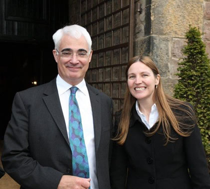 Alistair Darling (MP), former Chancellor of the Exchequer, with Professor Aileen Lothian at a business meeting in Edinburgh, 2010