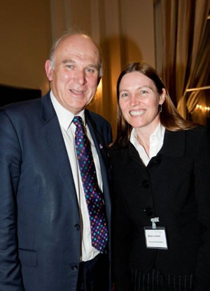 Right Honourable Dr Vince Cable (MP), Liberal Democrats, Business Secretary, with Professor Aileen Lothian at the George Hotel, Edinburgh, 2011